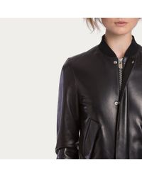 Bally Lamb Nappa Bomber Jacket Women ́s Black Leather Bomber Jacket