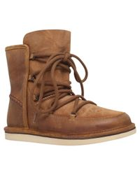 Ugg Brown Lodge Suede Boots With Lace-up Front