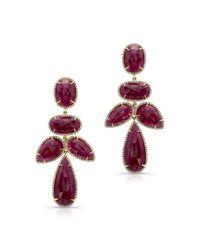 Anne Sisteron - Purple 14kt Yellow Gold Ruby Diamond Earrings - Lyst