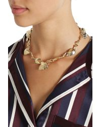Aurelie Bidermann - Metallic Tangerine Gold-Plated Leaf Necklace - Lyst