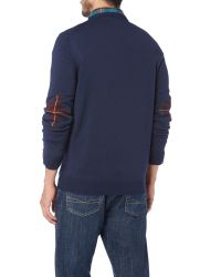 Lyle & Scott | Blue Crew Neck Tartan Elbow Patch Pull Over Jumper for Men | Lyst