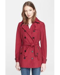 Burberry Brit - Red 'brooksby' Double Breasted Trench Coat - Lyst