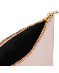 Whistles Pink Rivington Matte Croc Leather Chain Small Clutch