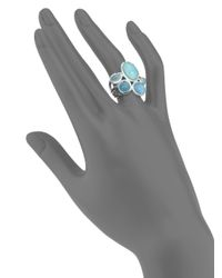 Ippolita - Rock Candy Larimar, Aquamarine, Blue Topaz, Mother-Of-Pearl & Sterling Silver Cluster Ring - Lyst