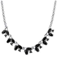 2028 - Silver-tone Vine Inspired Black Stone Collar Necklace - Lyst