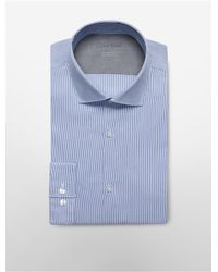 Calvin Klein | Blue White Label X Fit Ultra Slim Fit Ministripe Dress Shirt for Men | Lyst