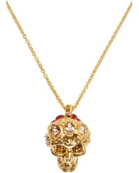 Alexander McQueen | Metallic Gold Skull Flower Pendant | Lyst