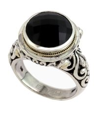 Effy | Metallic Balissima 18 Kt. Yellow Gold And Sterling Silver Onyx Ring | Lyst