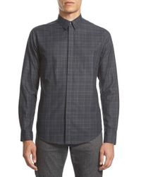 Theory - Gray 'zack Ff' Trim Fit Plaid Sport Shirt for Men - Lyst
