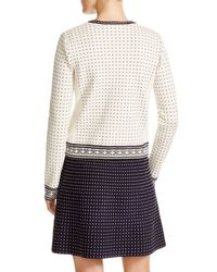 Tory Burch | White Zip Front Dot Cardigan | Lyst