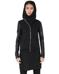 Rick Owens - Black Nappa Leather Cotton Sweatshirt for Men - Lyst