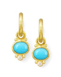 Elizabeth Locke - Metallic Turquoise & Diamond Earring Pendants - Lyst