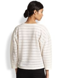 L'Agence - White Cocoon-Sleeved Striped Sweater - Lyst