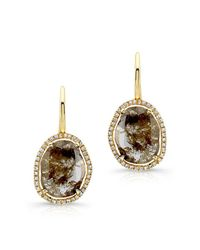 Anne Sisteron | 14kt Yellow Gold Diamond Slice Wire Back Earrings | Lyst