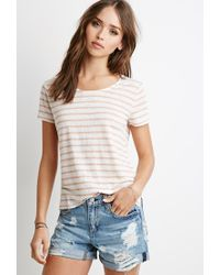 Forever 21 | Pink Lace-paneled Stripe Tee | Lyst