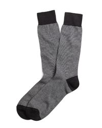 Brooks Brothers - Black Micro Stripe Crew Socks for Men - Lyst