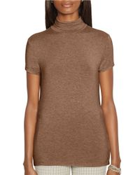 Lauren by Ralph Lauren | Brown Short Sleeve Turtleneck | Lyst