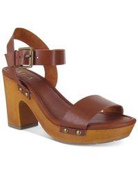 MIA | Brown Manuela Two-piece Platform Sandals | Lyst