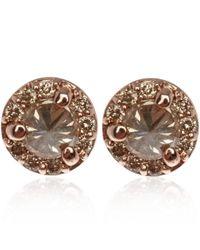 Anna Sheffield Pink Tiny Rose Gold Champagne Diamond Rosette Stud Earrings
