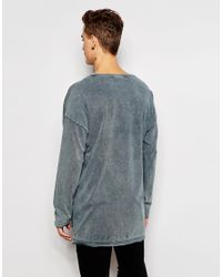 ASOS Gray Oversized Long Sleeve T-shirt With Stepped Hem And Acid Wash for men