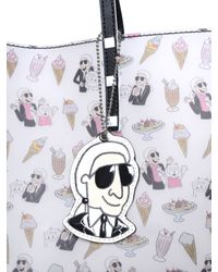 Karl Lagerfeld White Ice Cream Printed Matte Pvc Tote Bag