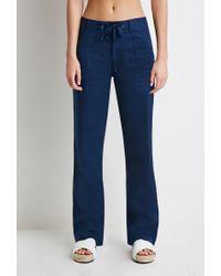 Forever 21 Blue Linen Drawstring Pants