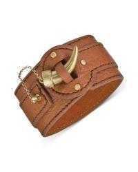 The Sak | Metallic Goldtone Tusk Closure Wide Leather Cuff Bracelet | Lyst