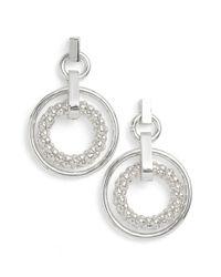Anne Klein Metallic Drop Hoop Earrings