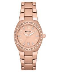 Fossil | Pink Crystal Dial Watch | Lyst