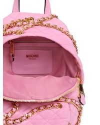 Moschino - Pink Mini Chained Quilted Leather Backpack - Lyst