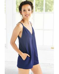 Silence + Noise | Blue Strappy Deep V-back Romper | Lyst