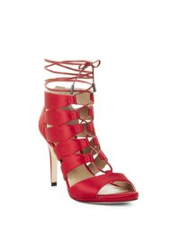BCBGMAXAZRIA Red Laila High-heel Lace-up Sandal