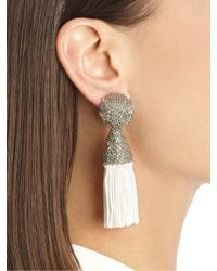 Oscar de la Renta | White Metal Top Short Silk Tassel Earrings | Lyst