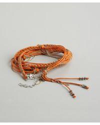 Sogoli - Orange Fabric And Chain Braided Knot Convertible Wrap Bracelet - Lyst