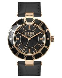 Versus | Black Logo Leather Strap Watch | Lyst