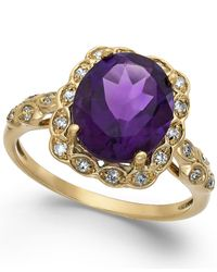 Macy's | Metallic Amethyst (3-1/2 Ct. T.w.) And Diamond Accent Ring In 14k Gold | Lyst