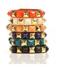 Linea Pelle | Brown Pyramid Stud Bracelet | Lyst