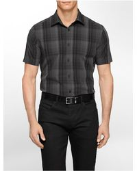 Calvin Klein | Black White Label Classic Fit Medium Plaid Multi Check Short Sleeve Shirt for Men | Lyst