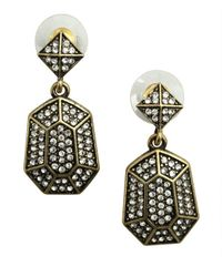 R.j. Graziano | Metallic Gold Linear Hanging Pave Earring | Lyst