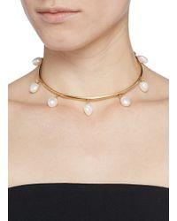 Ela Stone | Metallic 'Gilda' Pearl Drop Torque Necklace | Lyst