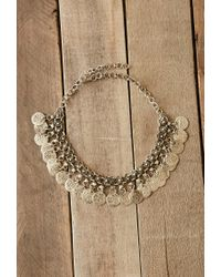 Forever 21 Metallic Raga Etched Coin Necklace