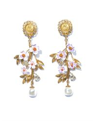 Dolce & Gabbana | Metallic Blossom Flower and Pearl Earrings | Lyst