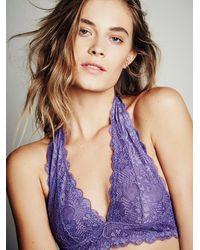 Free People Purple Galloon Lace Halter Bra Top