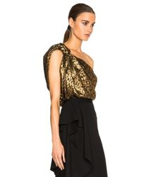 Lanvin Metallic Knotted One Shoulder Cheetah Print Silk Top
