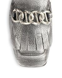 Prada - Metallic Leather Chain Loafers - Lyst