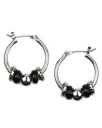 Nine West | Metallic Silver-tone Jet Bead Hoop Earrings | Lyst