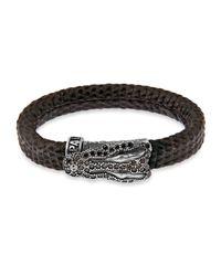 Platadepalo | Brown Animalia Silver Crocodile Bracelet | Lyst