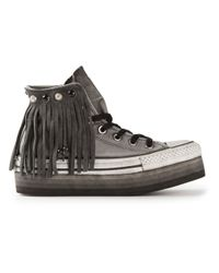 Converse Gray Fringed Platform Sneaker
