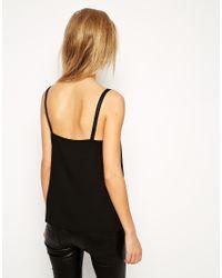 ASOS - Black Asos Woven Cami Top With Double Straps - Lyst