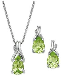 Macy's | Metallic Peridot (2-1/5 Ct. T.w.) And Diamond Jewelry Set In Sterling Silver | Lyst
